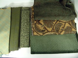 Lot 6 Upholstery Fabrics Green Brown Gold 3+ yards Total Textures Crafts - $15.83