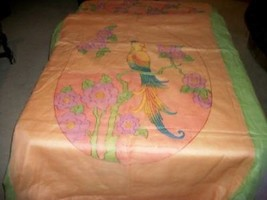 ANTIQUE CRINOLINE ORGANDY FRENCH ART DECO TINTED PARROT BEDSPREAD CHIC S... - $157.69