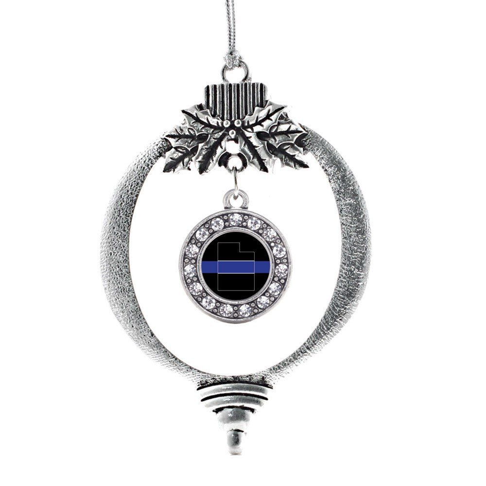 Primary image for Inspired Silver Utah Thin Blue Line Circle Holiday Ornament
