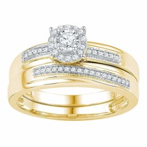 10k Yellow Gold Round Diamond Bridal Wedding Engagement Ring Band Set 1/4 Cttw - £319.49 GBP