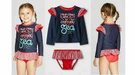 """Cat & Jack """"Oh Say Can You Sea"""" Girl Rashguard 2 Pcs Swimsuit Navy/Red 2T - $10.28"""