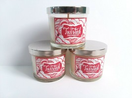 Bath and Body Works Twisted Peppermint Candles 4 Oz Old Label Unburnt lot of 3 - $49.99
