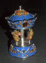 Vintage Decorated Enamel Jeweled Elephant Carousel Music Box  image 9
