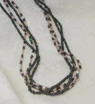 Premier Designs Seed Bead Necklace Glass Multi-Strand Gunmetal Grey Pink... - $13.85