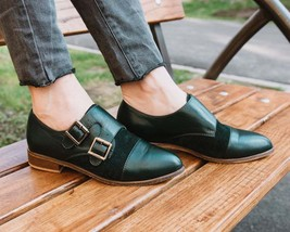 Elite Fashion Cardin Green Cap Toe,Suede Dual Monk Strap Leather Shoes For Women - £105.17 GBP - £145.62 GBP