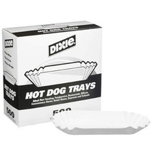 "Dixie 8"" Fluted Hot Dog Tray 500ct - £16.42 GBP"