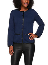 Isaac Mizrahi Live! Size L Quilted Knit Jacket w/ Faux Leather Trim Dark Navy - $69.27