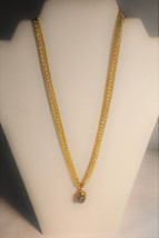 Glass Amethyst Oval Opal 3 strand gold necklace - $27.00