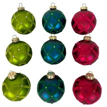 Rauch Glass Christmas Ornaments Flocked Design Lot of 9 Pink Blue Green - $24.74
