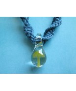 Handmade Blue Hemp Necklace with Awesome Hand Blown Green Glass Mushroom... - $17.00