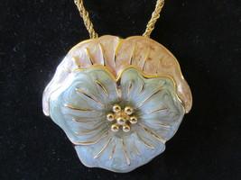 Retro / Vintage Monet Large Enameled Flower Pendant Necklace - $12.99