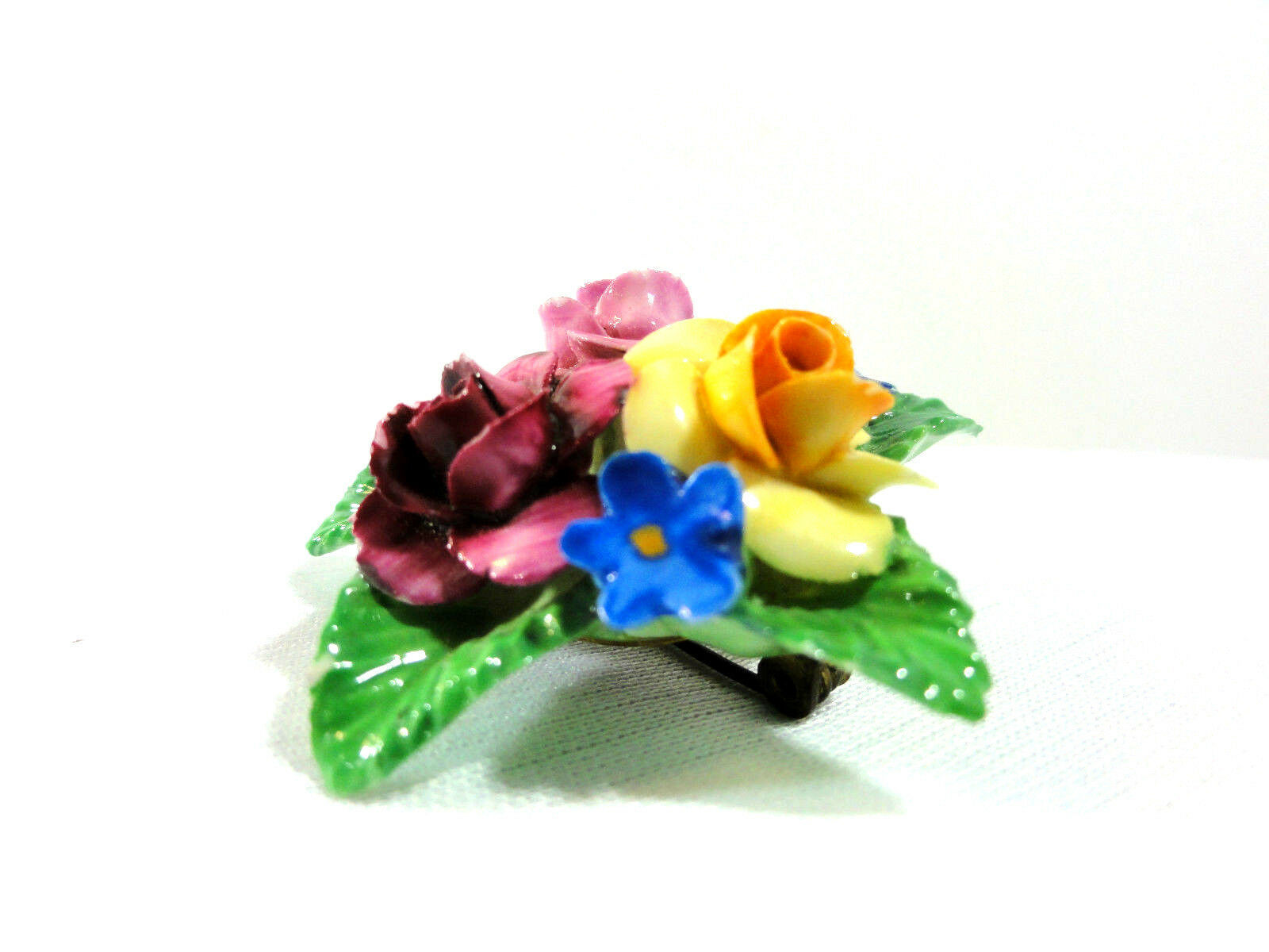 Vintage Staffordshire Bone China Floral Lapel Pin (Brooch) Sterling Mount (2 in) - $15.79