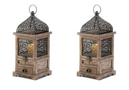 "2 Flip Top Candle Lanterns w/ Drawer Pine Wood w/ Black Iron Cutouts 14""... - $45.95"