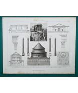 ARCHITECTURE Roman Temples Columns Tivoli Palmyra Croatia - 1870 Engravi... - $16.20