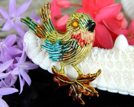 Vintage Bird Sparrow Brooch Pin Enamel Gold Tone Signed ART Figural - $18.95