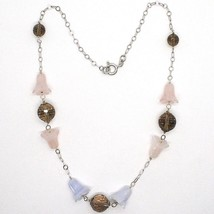 Silver necklace 925, bluebells, Flowers, Bells, ROSE QUARTZ, CHALCEDONY image 2