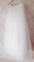 White Lace Tulle Maxi Skirt White Bridal Tulle Skirt A Line Tulle Wedding Skirt image 3
