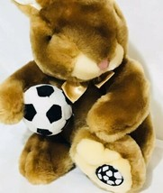 "Dan Dee Plush Toy Bunny Rabbit w/ Soccer Ball & Ribbon 11"" Stuffed Animal  - $22.78"