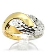 18K WHITE YELLOW GOLD BAND RING, INFINITE, BRAID, WEAVE, HAMMERED AND PO... - $607.51