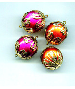 4 large bead drop charms bead pendant plastic vintage beads big ball bea... - $2.99