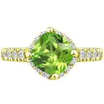 Ring Solitaire Peridot Cushion & Diamond Round Ring 2.57 tcw Y Gold pl S... - £241.77 GBP
