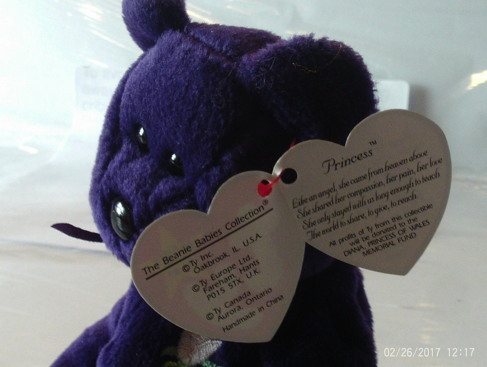 Ty Princess Diana Beanie Baby purple bear 389fffb9e0b9