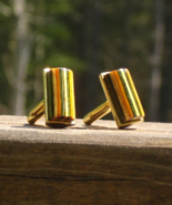 Mens Cufflinks, Multi Color Wood, Barrel Tube Shape - $125.00
