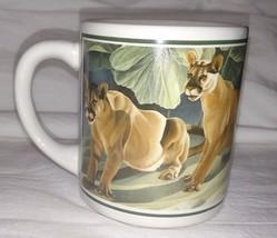 Vintage Lions Coffee Cup 1987 Lioness Mug Good Company Wildlife 660766 L. Regan - $13.17