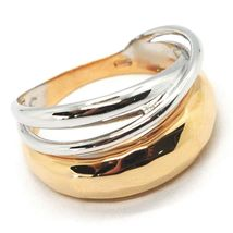 18K ROSE WHITE GOLD BAND RING, HALF HAMMERED AND HALF MULTI WIRES, BICOLOR image 4