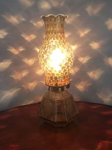 """Vintage Fostoria Amber Opalescent Dot Coin Electric Lamp Glass 13.5"""" Tall Brass - $53.16"""