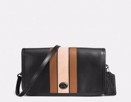 NWT Coach Penny 75th Anniversary Stripe Black Leather Crossbody Bag Purs... - $155.00