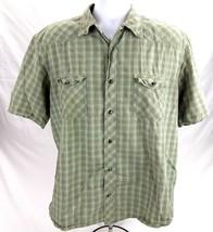 Cabelas Pearl Snap Mens Large Western Dress Shirt Green Plaid SS Pockets... - $21.99