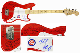 2016 Chicago Cubs Team Signed Fender Squier Red Bass Guitar (25 Sigs) - $3,749.00