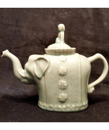 Teapot, Green Elephant, Asian Girl Lid, Ceramic Made in China, Vintage 8... - $31.00