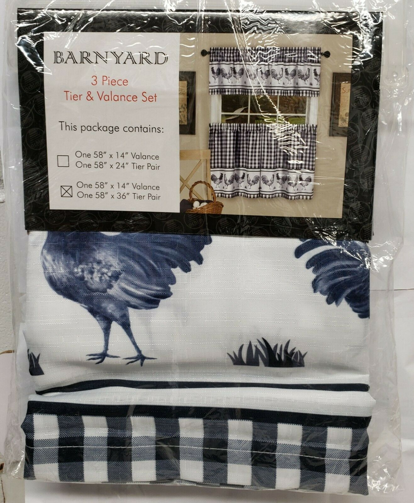 Primary image for 3pc Kitchen Printed Curtains Set,58x14 &58x36,ROOSTERS BARNYARD,NAVY BLUE, Achim