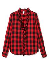 Gap Women's Buffalo Plaid Ruffle Shirt, size XL, NWT - $45.00