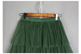 ARMY GREEN Layered Tulle Skirt Women High Waist Mesh Full Tulle Party Skirt Plus image 2