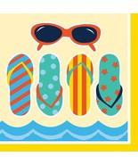 Beach Bike 16 Ct Beverage Napkins Summer Party Sunglasses Sandals - $3.43