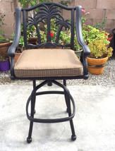 Patio bar set with Palm tree swivel chairs 5pc cast aluminum Nassau furniture image 2