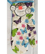 "Fabric Printed Kitchen 13"" Jumbo Oven Mitt, BUTTERFLIES, blue back by BH - $7.91"