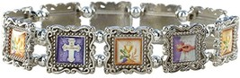 Silver Tone Epoxy Picture Bead Bracelet - $17.97