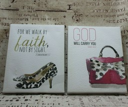 Kirklands Set of 2 Canvas Painted Biblical Wall Pictures Isa 46:4 , 2Cor 5:7 - $5.01