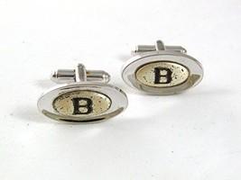 1950's Silvertone & Black Initial / Letter B Cufflinks By SHIELDS 5517 - $16.82