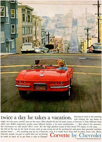 Primary image for 1961 Chevrolet Corvette - Twice A Day Vacation - Promotional Advertising Poster