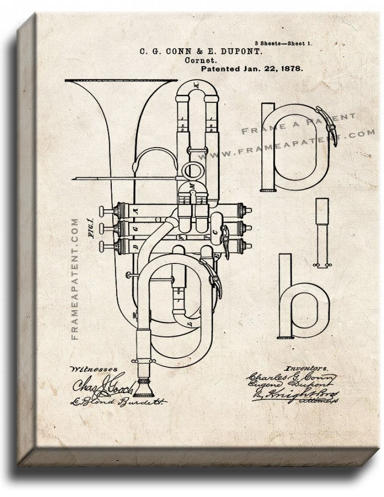 Primary image for Cornet Patent Print Old Look on Canvas