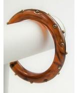 ESTATE VINTAGE Jewelry TRANSPARENT ROOT BEER PLASTIC METAL STUD BANGLE B... - $65.00