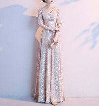 Women Maxi Sequin Dress Sleeved High Waist Sequin Maxi Formal Dress, Pink Sequin image 4