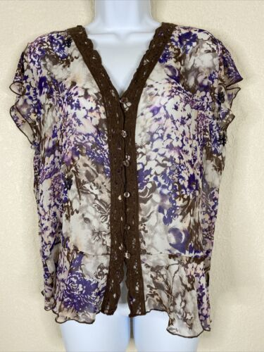Primary image for Violet & Claire Womens Size M Purple Floral Blouse Short Sleeve V Neck
