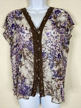 Violet & Claire Womens Size M Purple Floral Blouse Short Sleeve V Neck - $11.88