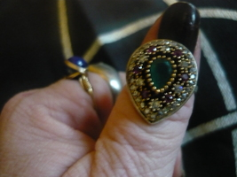 PARANORMAL PHARAOHS DJINN  RING SIZE 8  emenarlds and topaz - $300.00